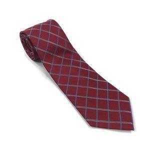 Club Room Mens Neck Tie Silk Red Blue Plaid Checks